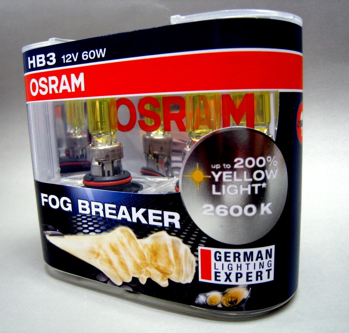 hb3 9005 osram 12v 60w fog breaker 2600k yellow globes. Black Bedroom Furniture Sets. Home Design Ideas