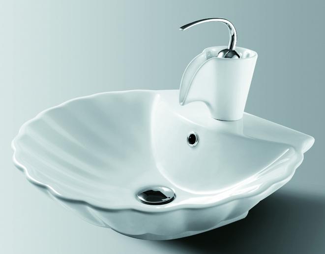 Bathroom White Ceramic Vessel Sink & Porcelain Faucet Combo for Vanity ...