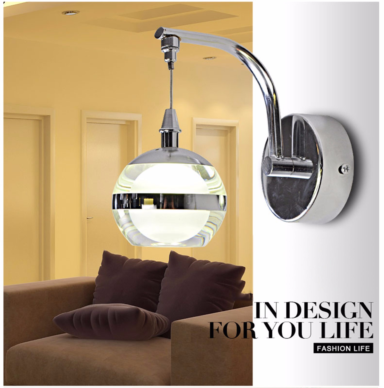 Round Ball Wall Lights : LED Modern Home Style Round Crystal Ball Luxury Wall Light Fixture Lamp Green eBay