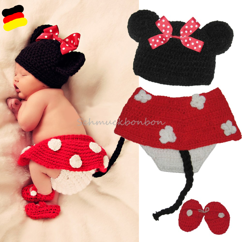Foto-Shooting-Neugeborene-Baby-Kostuem-Tier-Minnie-Mouse