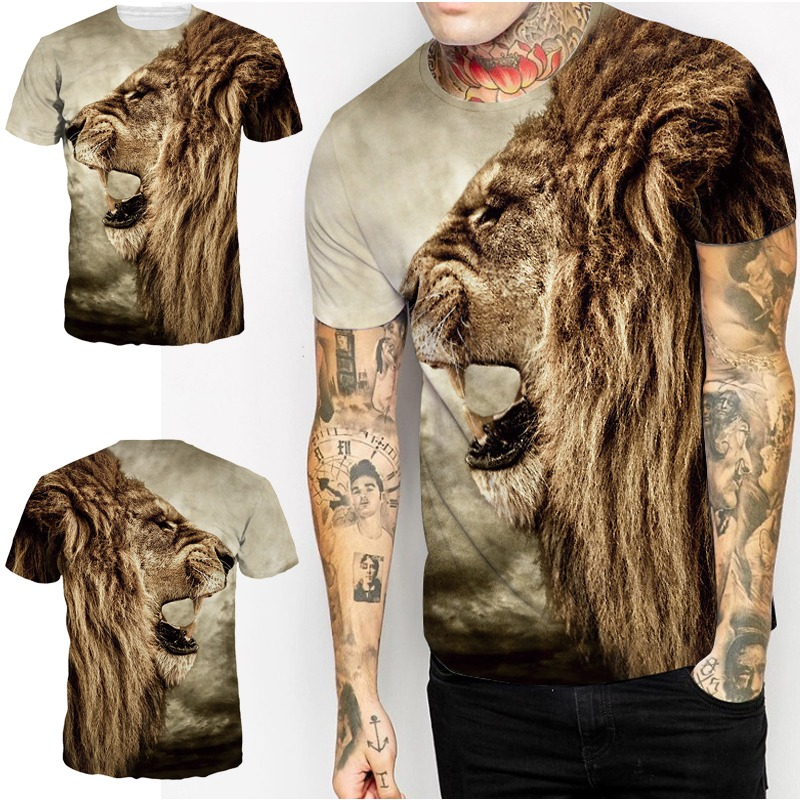 Wolf-Black-Men-T-shirt-Cotton-Casual-crew-neck-Short-Sleeves-Tee-Tops-Blouse-T