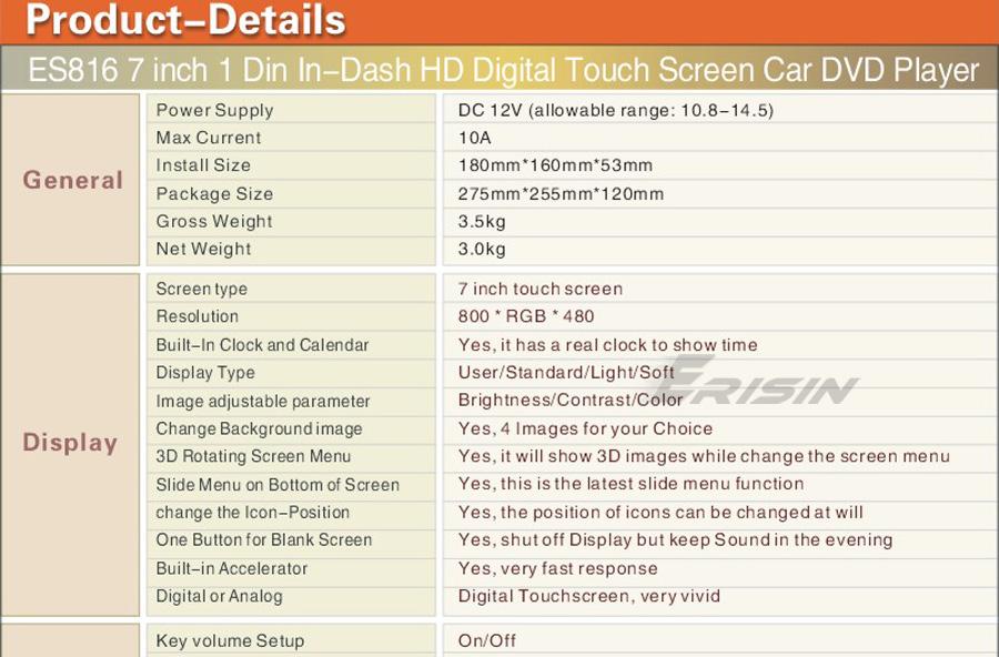 Erisin ES816 HD 3D 7 1 Din In Dash In Car DVD Player iPod TV USB iPod