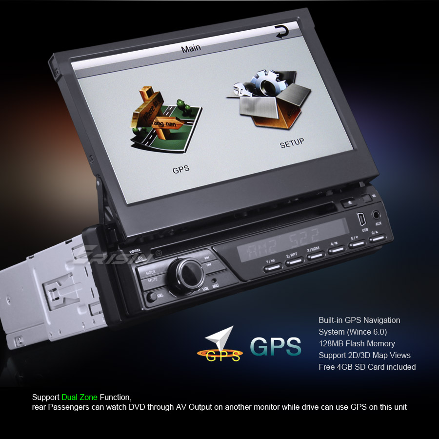 "Erisin ES823G HD 7"" 1 DIN Detachable Car DVD Player Touch Screen GPS TV BT Pip"