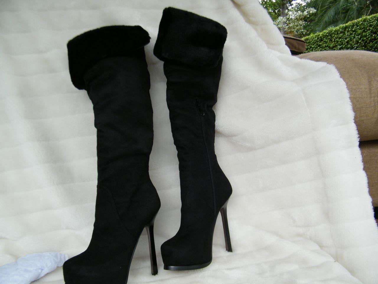 BEBE-SHOES-sandals-HEELS-Platform-boots-black-SILVANA