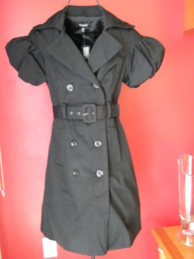 BEBE-trench-coat-jacket-belted-long-bubble-sleeve-black