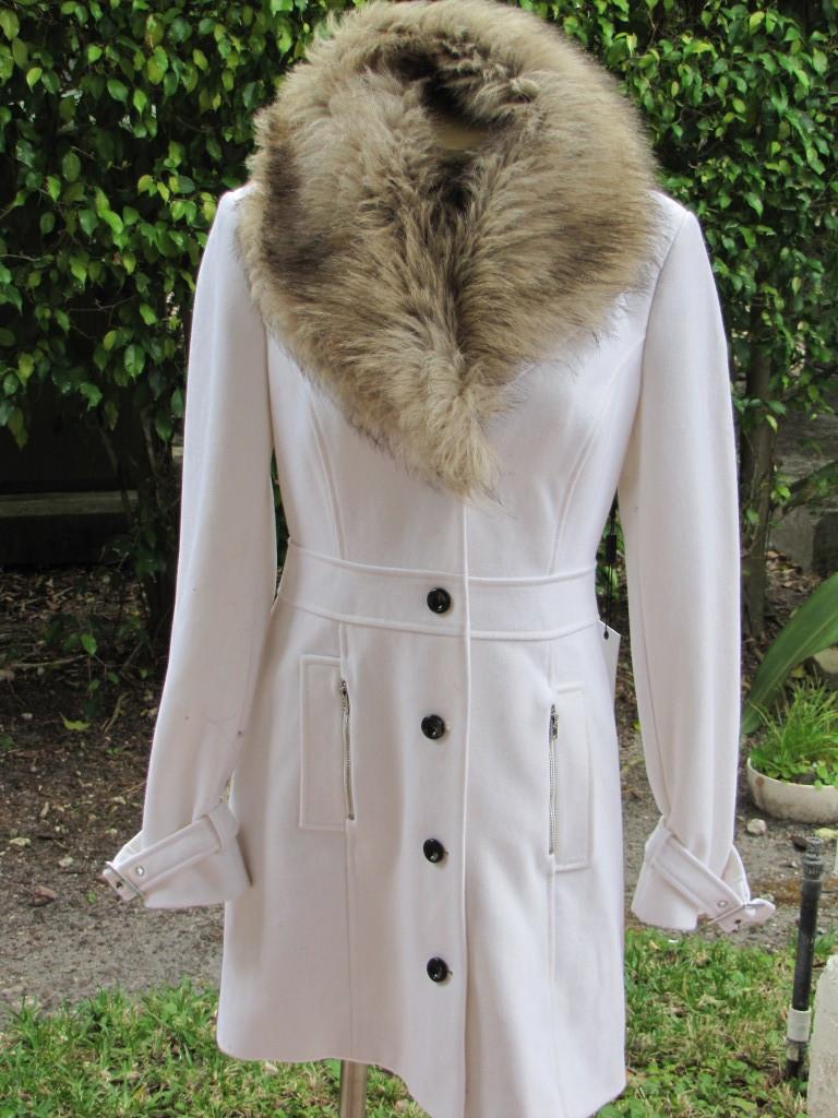 BEBE JACKET coat Faux Fur Collar Wool Coat 202287 WHITE