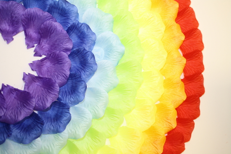 Silk rose petals rainbow flower party decoration for gay for Rainbow petals