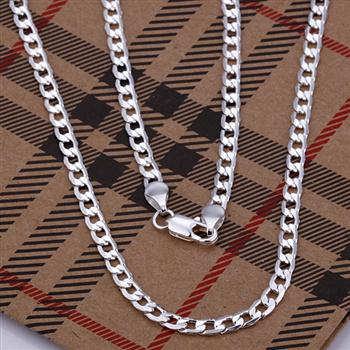 4mm-Nice-925silver-Side-chain-necklace-N054-Gift