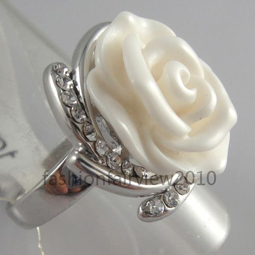 New White Gold GP Swarovski Crystal Ivory White Rose Cocktail Ring