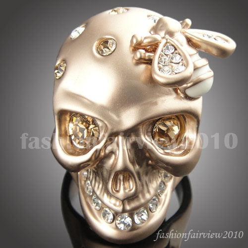 New-18K-Rose-Gold-GP-Swarovski-Crystal-Bee-Skull-Skeleton-Cocktail-Ring-VR050