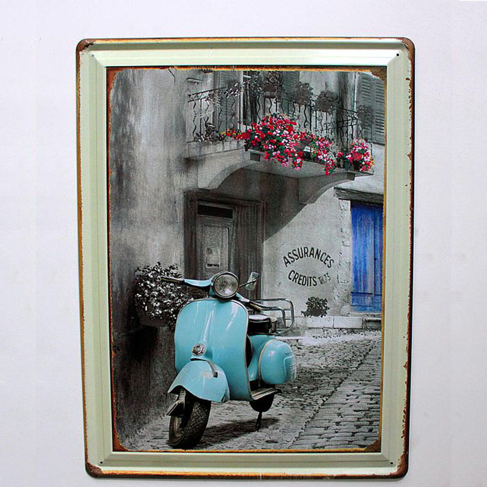 Motorcycle Home Decor : Vintage nostalgic style motorcycle little sheep tin metal