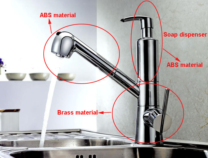 kitchen sink built-in soap dispenser rotatable faucet pull out