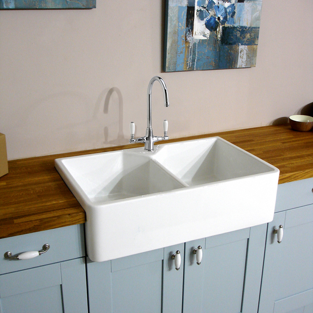 astini belfast 800 2.0 bowl white ceramic kitchen sink & waste | ebay