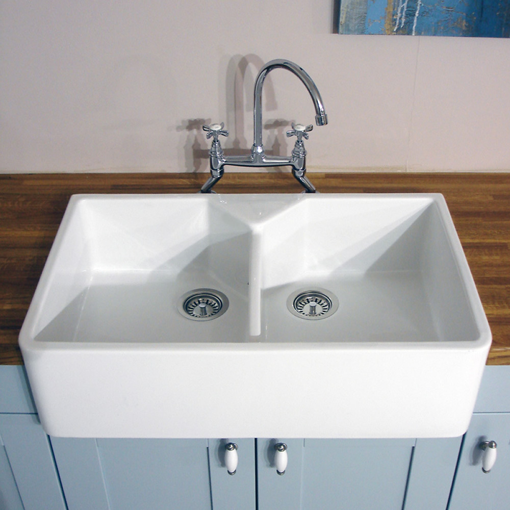 astini belfast bowl white ceramic kitchen sink waste ebay - Double Ceramic Kitchen Sink
