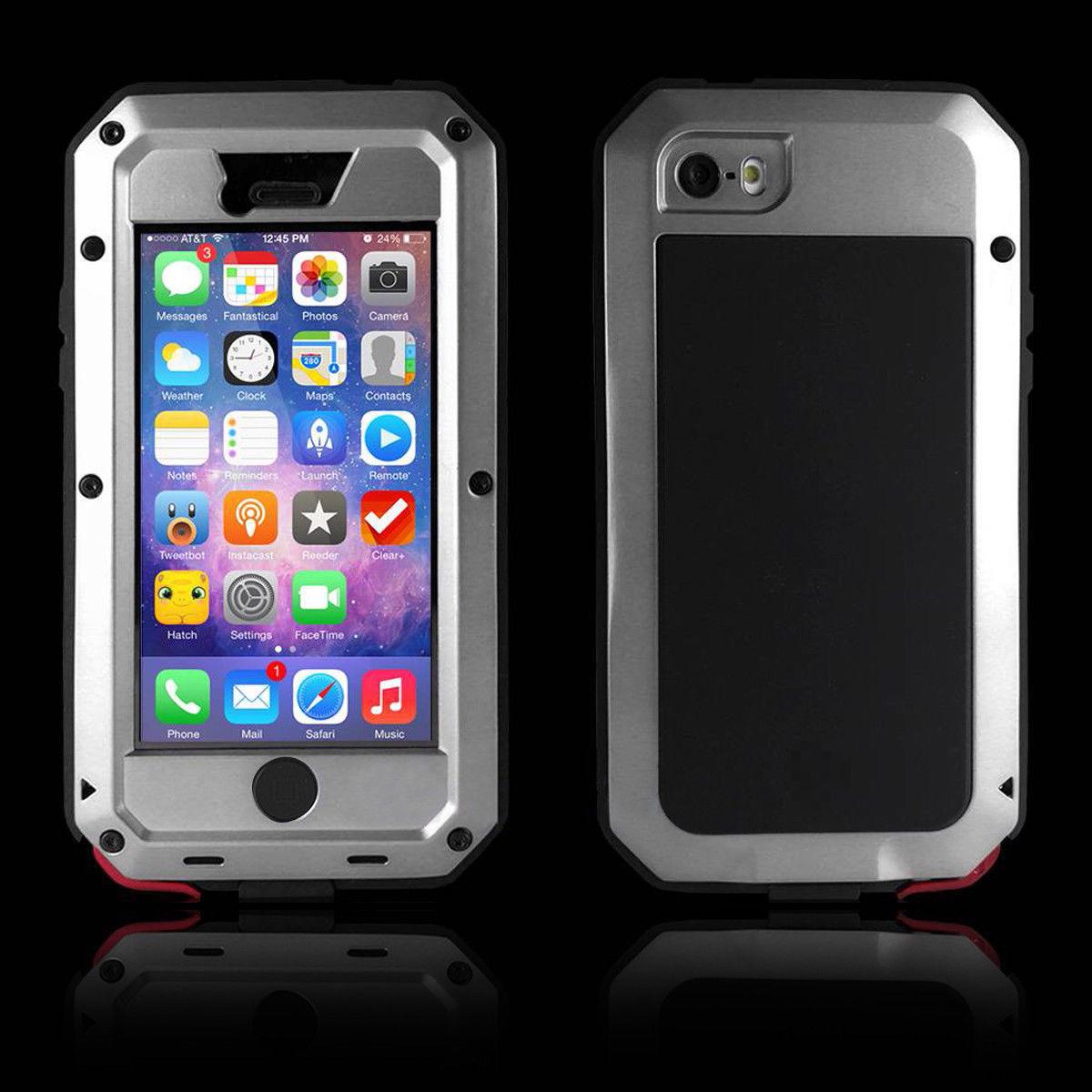 silver aluminum metal case cover glass for iphone se 5 5s water shockproof au ebay. Black Bedroom Furniture Sets. Home Design Ideas