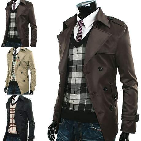New mens Breasted double trench coat Belted slim fit jacket for ...