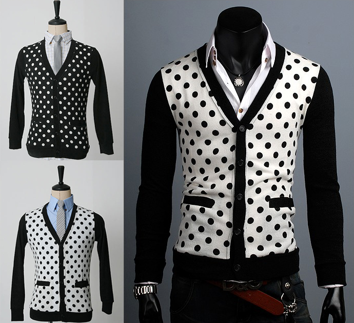 Korea-pop New Slim fit Polka dots Mens Cardigan sweaters knitwear ...