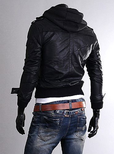 Korea_Pop Premium Mens LEATHER jacket for men With hoodie UK size