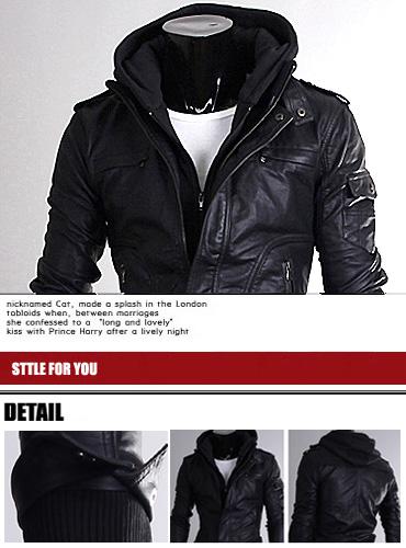 Korea_Pop Premium Mens LEATHER jacket for men With hoodie UK size