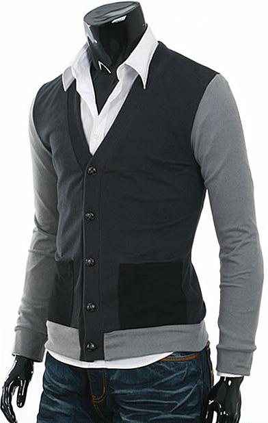 New layerd slim fit cardigans for men Jumper mens sweater Charcoal ...