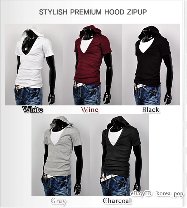 mens deep v neck t-shirt short sleeve hoodie tank top hoodies tee ...