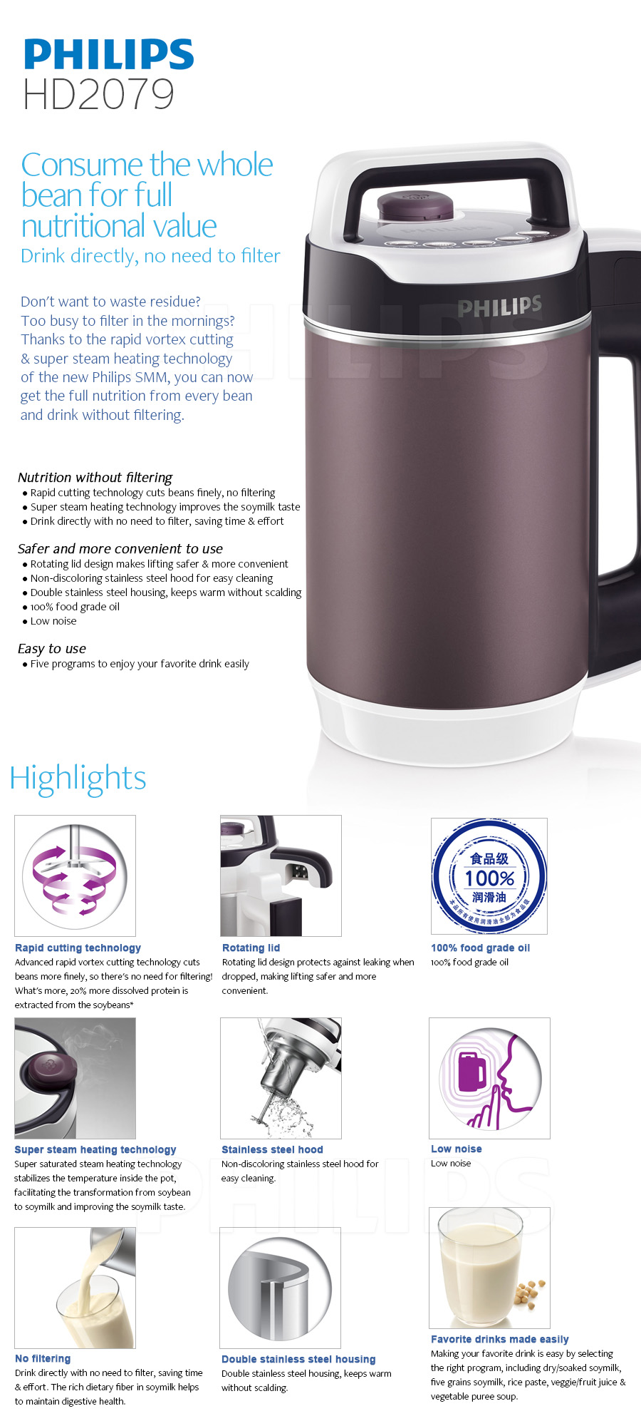 philips avance collection hd2079 juice soymilk soup maker stainless steel 220v ebay. Black Bedroom Furniture Sets. Home Design Ideas