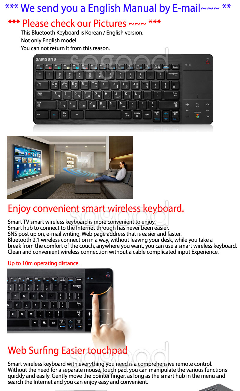 Samsung 2012 smart tv vg kbd1000 bluetooth keyboard vg for Camera tv web