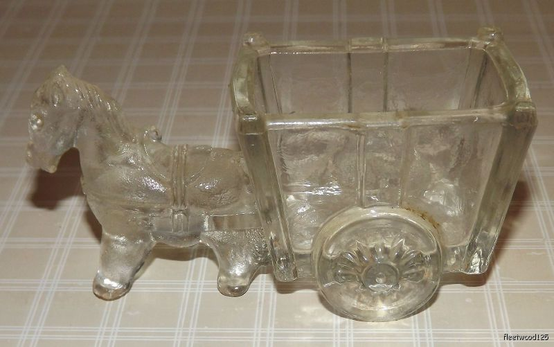 Vintage-Clear-Glass-Donkey-Horse-and-Cart-Kitchenware-Toothpick-Holder