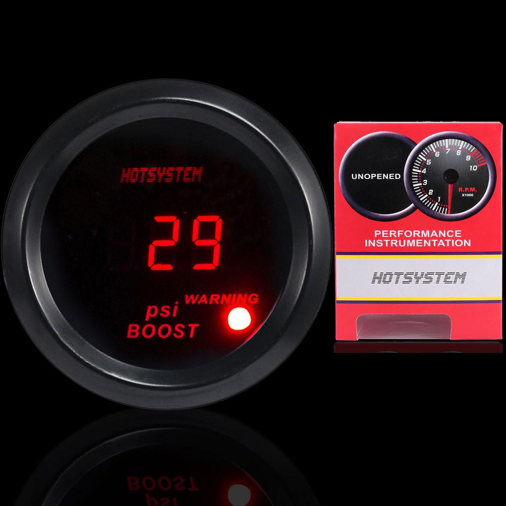 """HOTSYSTEM 2/"""" 52mm Digital Red LED Electronic PSI Boost Gauge For Car Sale"""