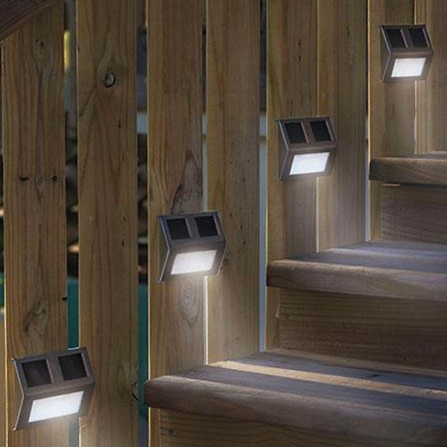 5 pcs solar powered led light path step stair light fence for Led exterieur jardin