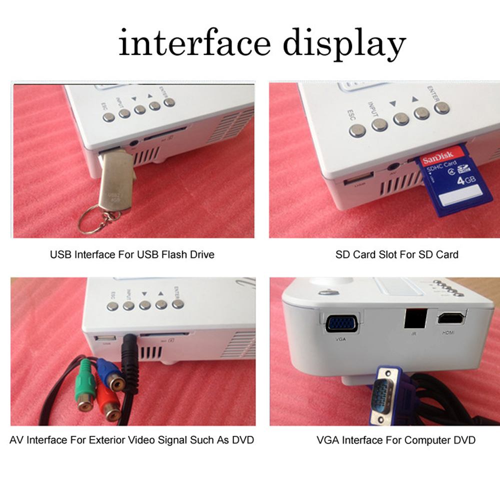 Portable mini led projector support hdmi vga sdcard av in for Best mini projector for presentations