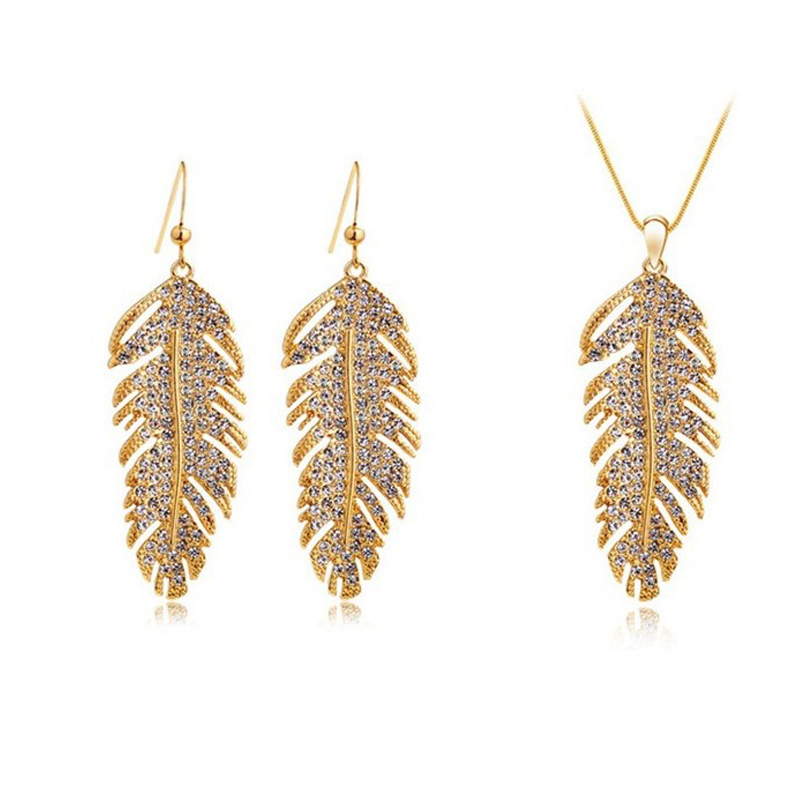 1pc Womens Ladies Nice Rhinestone Diamante Gold/Silver Feather Charm Necklace