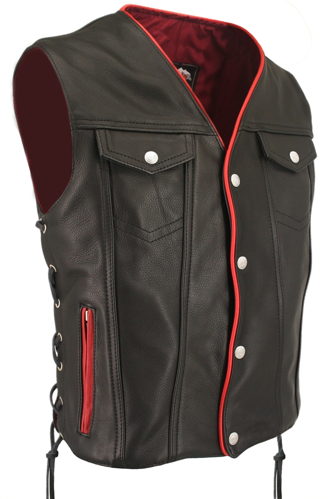 Made In Usa Denim Style Leather Motorcycle Biker Vest Red