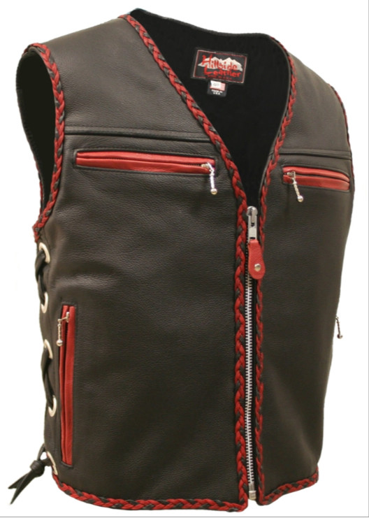 Biker Vest Patches >> Made In USA Leather Motorcycle Biker Vest Red Black Braid ...