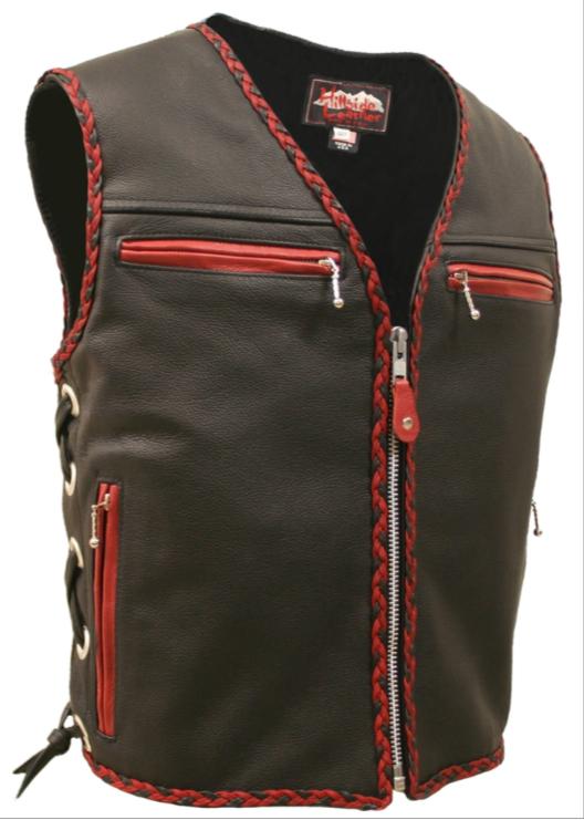 Biker Vest Patches >> Made In USA Leather Motorcycle Biker Vest Red Black Braid Trim Gun Pockets