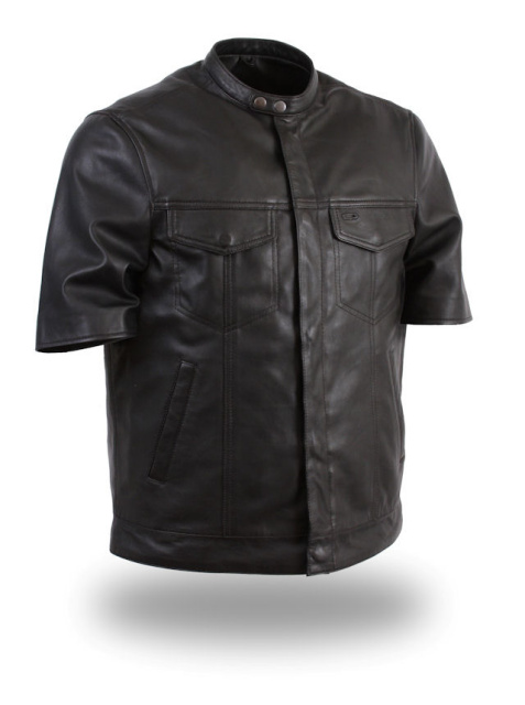MENS-BLACK-LIGHTWEIGHT-SHORT-HALF-SLEEVE-LEATHER-MOTORCYCLE-SHIRT-HIDDEN-SNAPS
