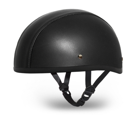 Dot Black Leather Motorcycle Biker Half Helmet Beanie Skull Cap