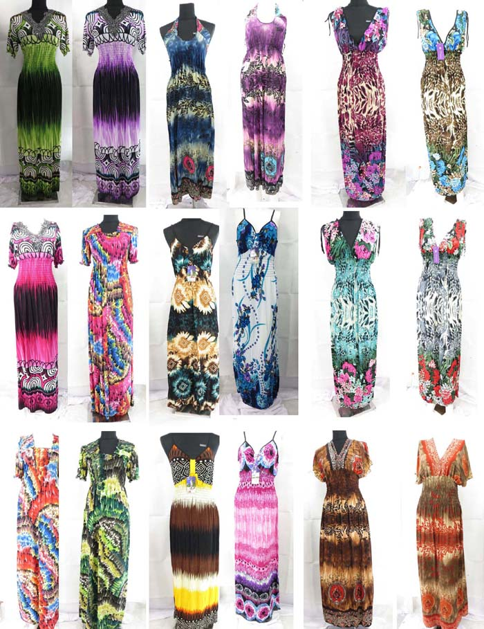 100 long dresses wholesale maxi dress women summer beach casual-US ...
