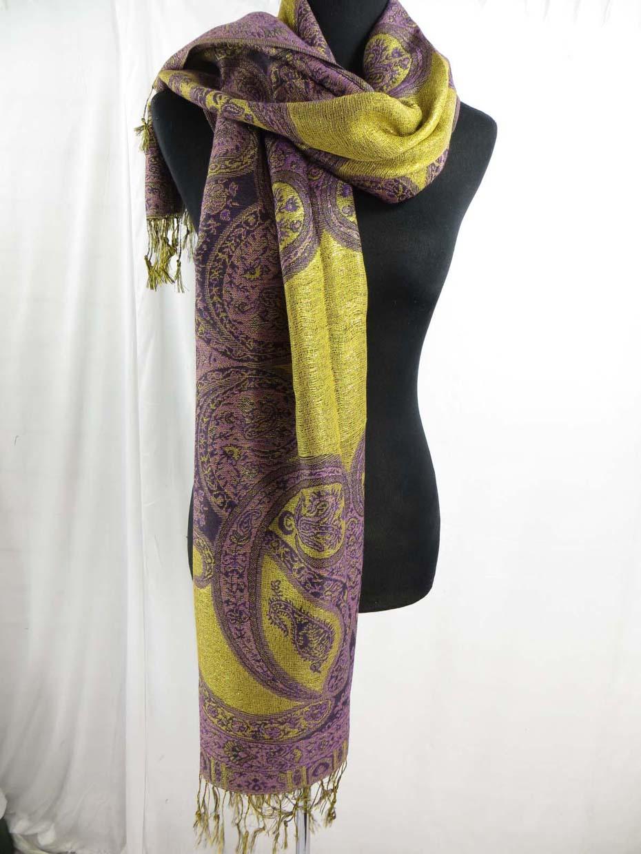 wholesale bulk scarf 10 metalic gold thread paisley