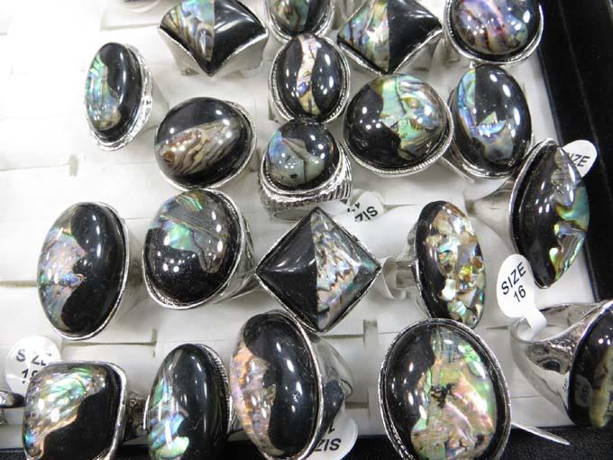 25 pcs wholesale rings bulk lot gemstone seashell cheap