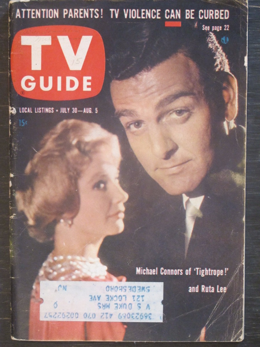 TV Guide Magazine July 30, 1960 Michael Connors & Ruta Lee of Tightrope