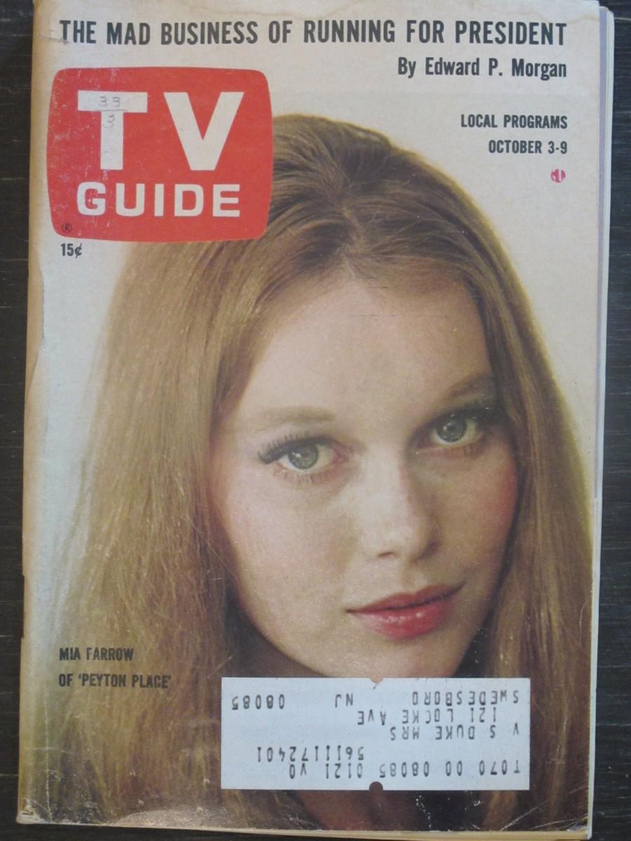 TV Guide Magazine October 3, 1964 Mia Farrow of Peyton Place