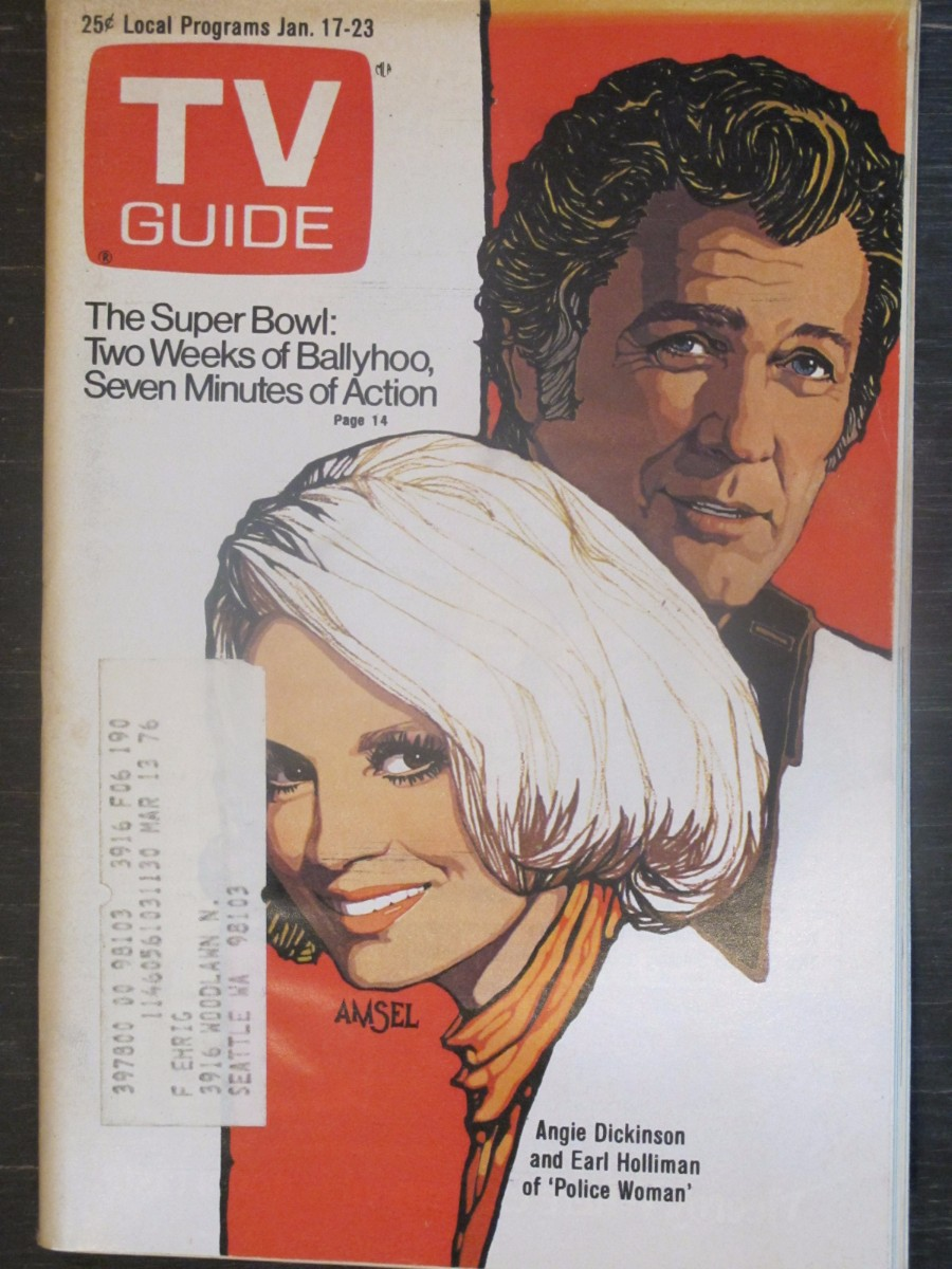 TV Guide Magazine January 17, 1976 Angie Dickinson & Earl Hollman of Police Woman