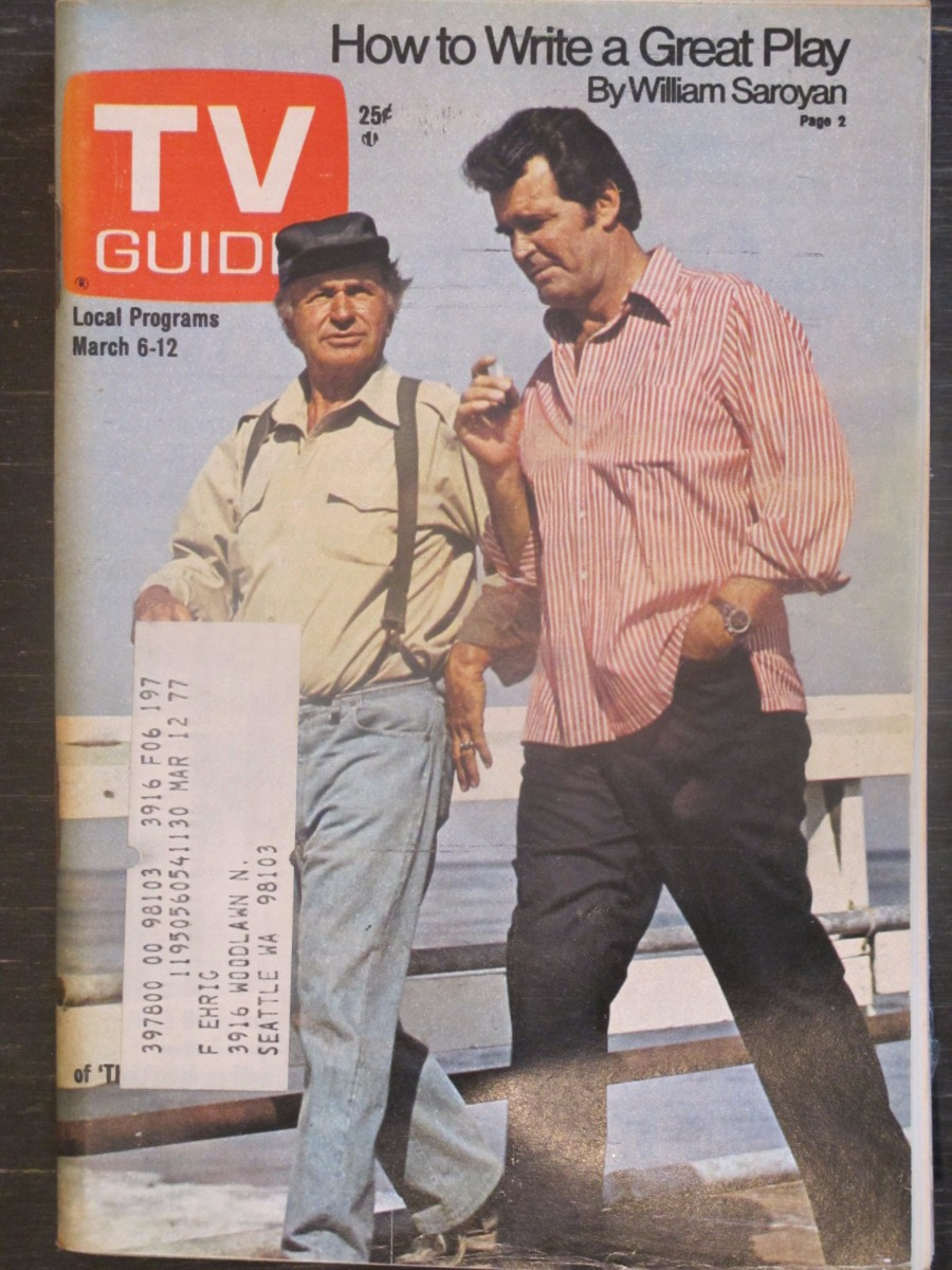 TV Guide Magazine March 6, 1976 Noah Beery & James Garner of Rockford Files