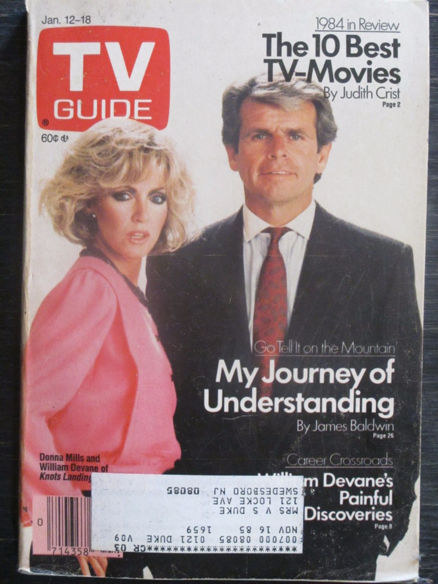 TV Guide Magazine January 12, 1985 Donna Mills & William Devan of Knots Landing