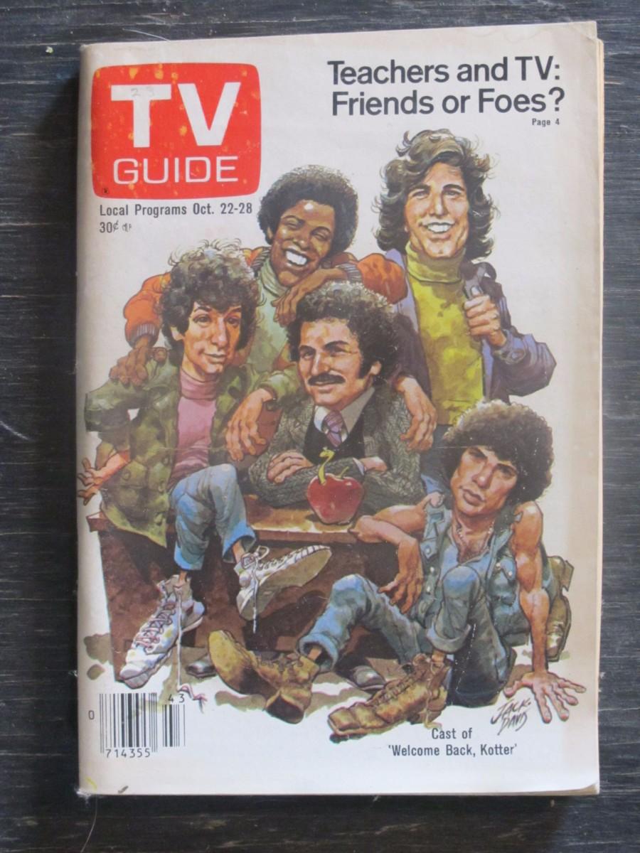 TV Guide Magazine October 22, 1977 Cast of Welcome Back Kotter