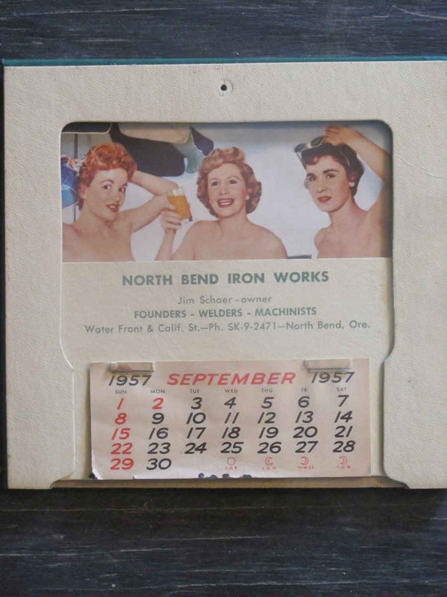 Vintage Calendar Pin Up Kind of North Bend Iron Works Magazine 1957