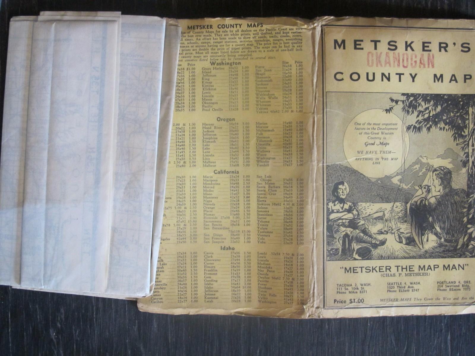 Old Metsker's County Map Okanogan Washington Magazine