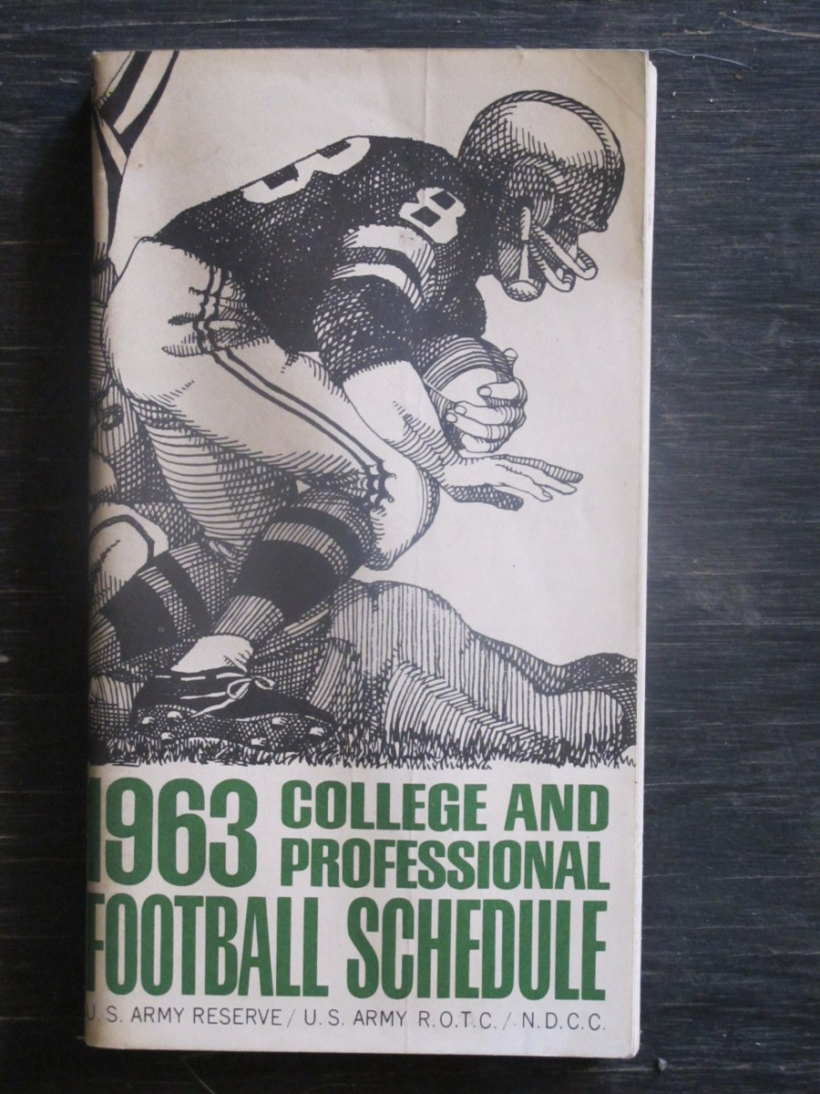 College and Professional Football Schedule US Army Reserve Magazine 1963