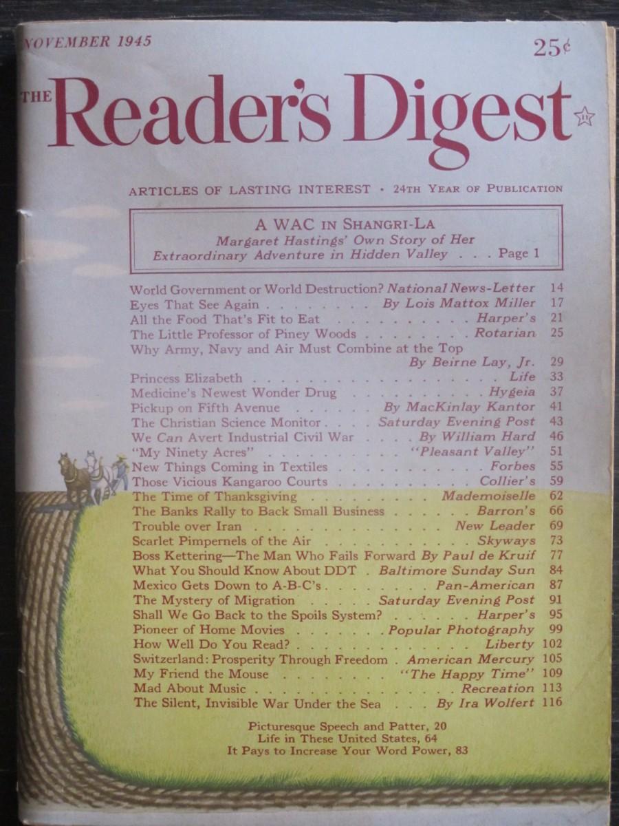 The Reader's Digest Magazine November 1945 A WAC in Shangri-La
